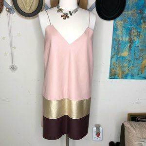 Zara pink gold and brown mini dress